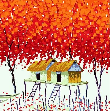 Red Maple Tree House - Paint by Numbers Kit
