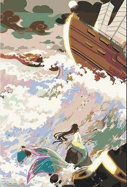 Mermaid And The Wooden Ship - Paint by Numbers