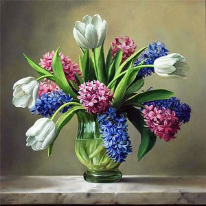 Multi Colour Flowers In Vase paint By number