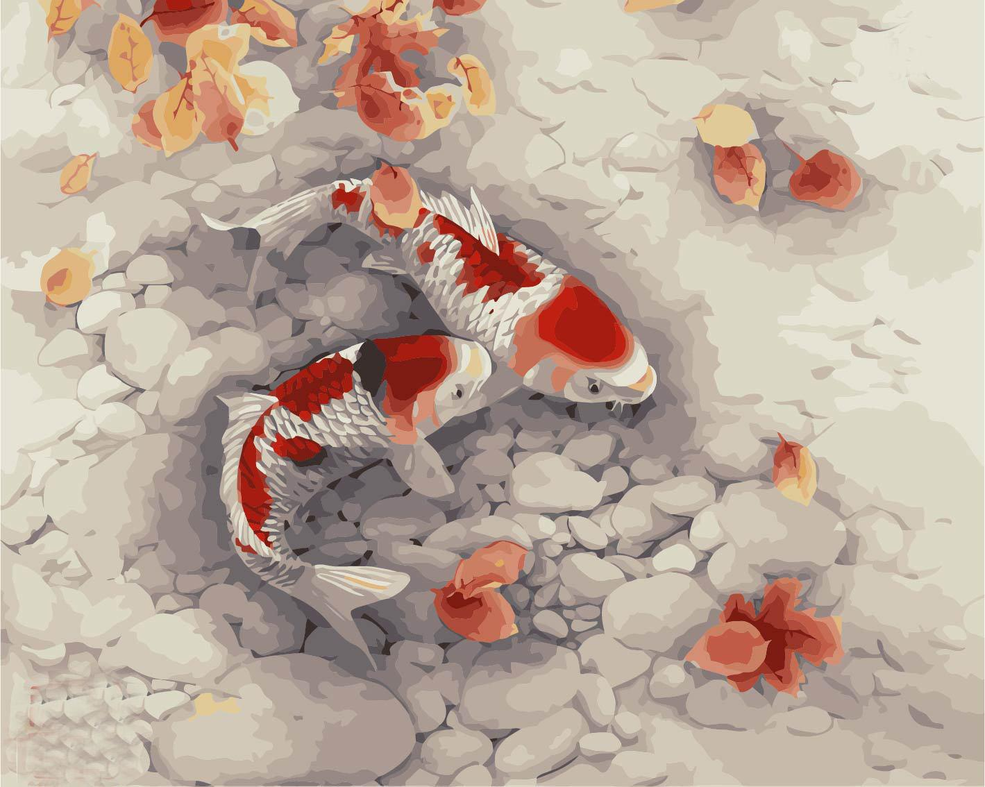Paint By Numbers Goldfish Painting