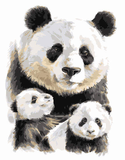 Panda Family Painting by numbers