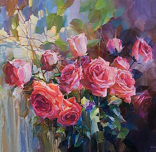 Pink Roses Paint by number