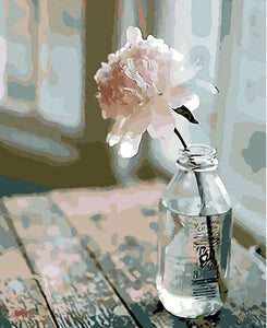white rose in bottle painting