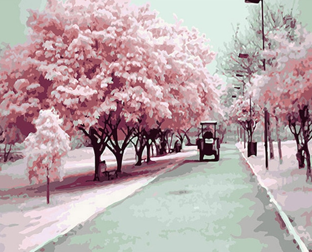 Pink Trees On Road painting kit