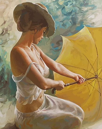 Girl And Umbrella painting