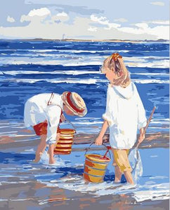 Kids Collecting Seashells - Abstract Painting Kit