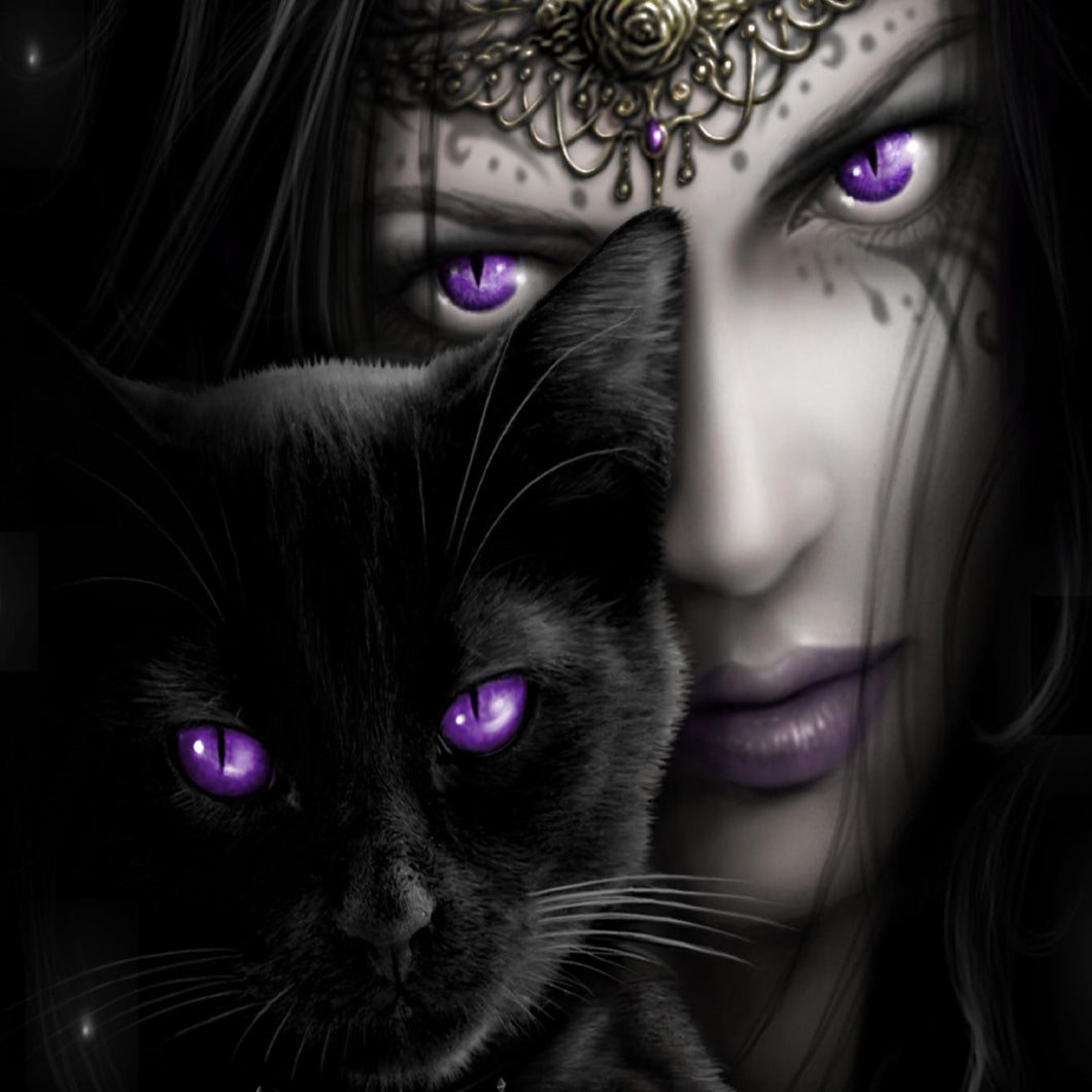 Purple Eyed Black Cat and Girl painting