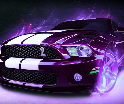 Purple Ford Mustang paint by number kit