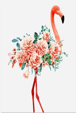 Red Flamingo and Flowers - Paint by Numbers Kit