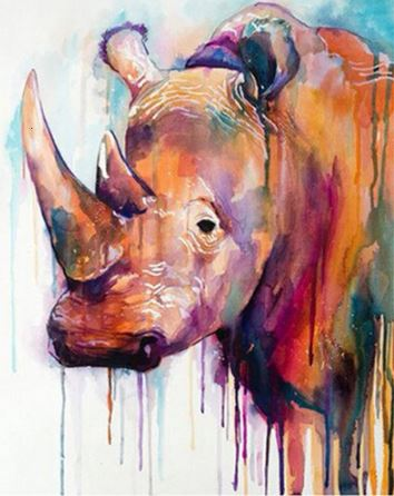 Rhinoceros Bleeding Paints - Paint by Numbers Kit