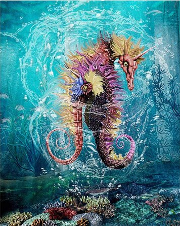 Sea Horse Painting by number Kit