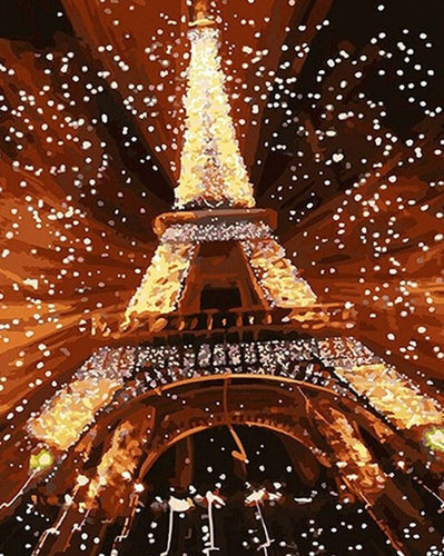 Eiffel tower With Lights painting