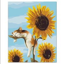 Load image into Gallery viewer, Cute Kitten Sleeping On Sun Flowers - Painting Kit