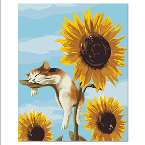 Cute Kitten Sleeping On Sun Flowers - Painting Kit
