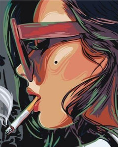 Smoking Girl Portrait - Paint by Numbers