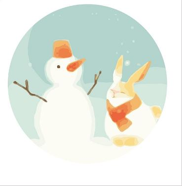 A Snow Man and a Rabbit