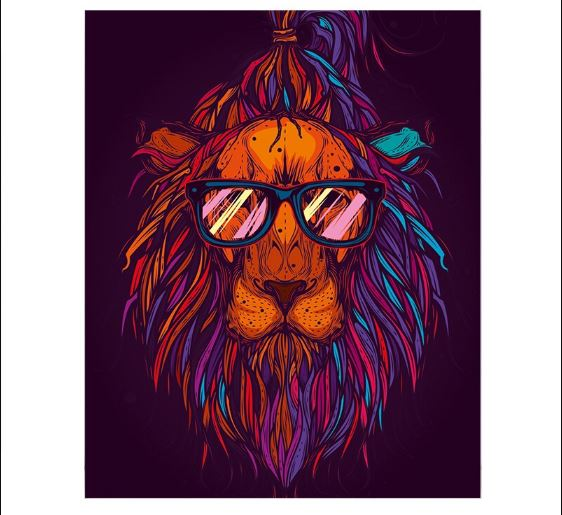 Lion With Glasses - Paint by Numbers