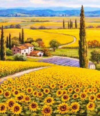 Sun Flowers Scenery - Painting Kit