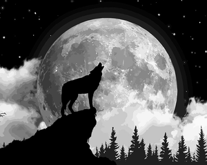 Wolf With Moon painting