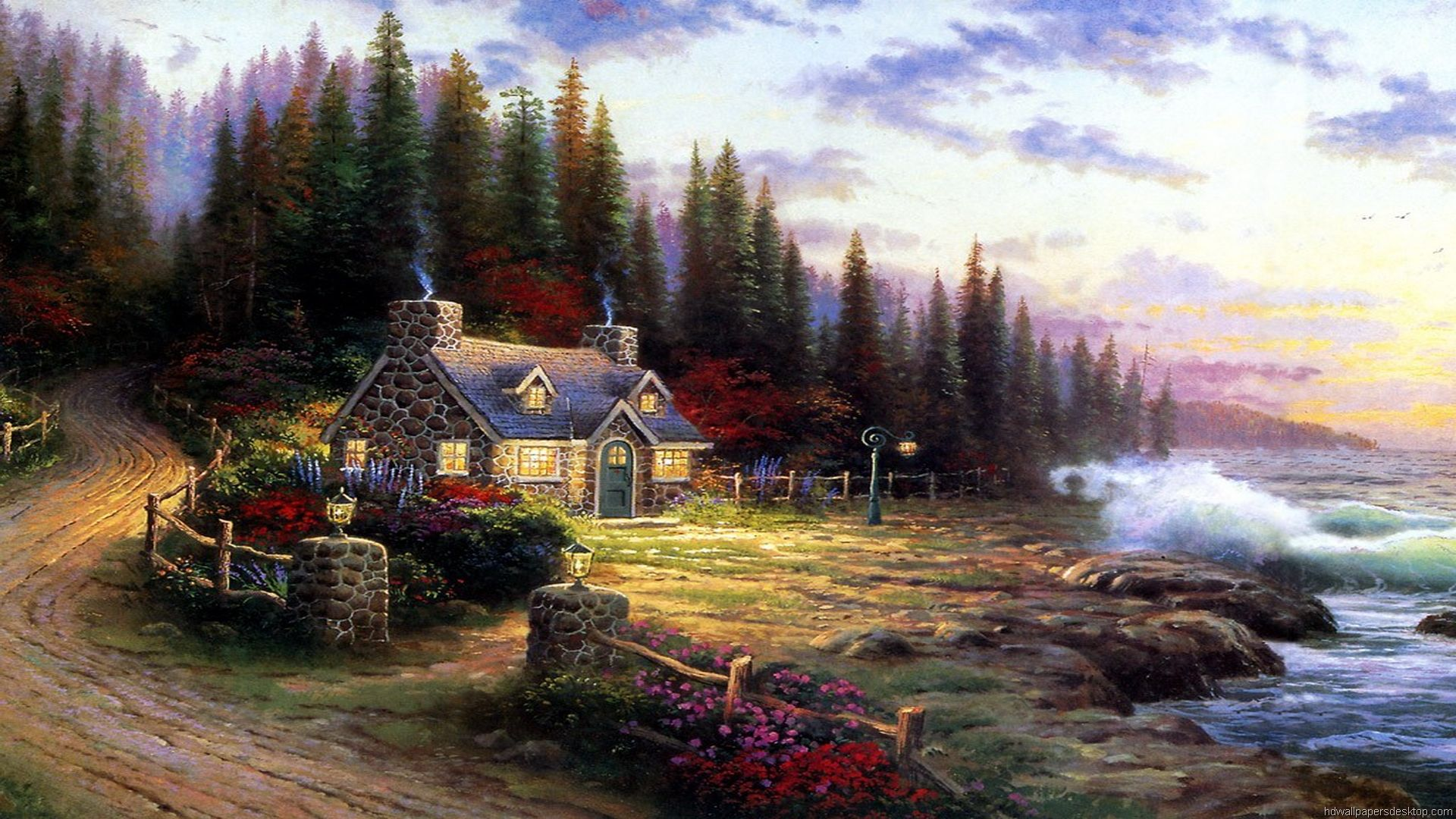 Thomas Kinkade Rural Landscape Painting