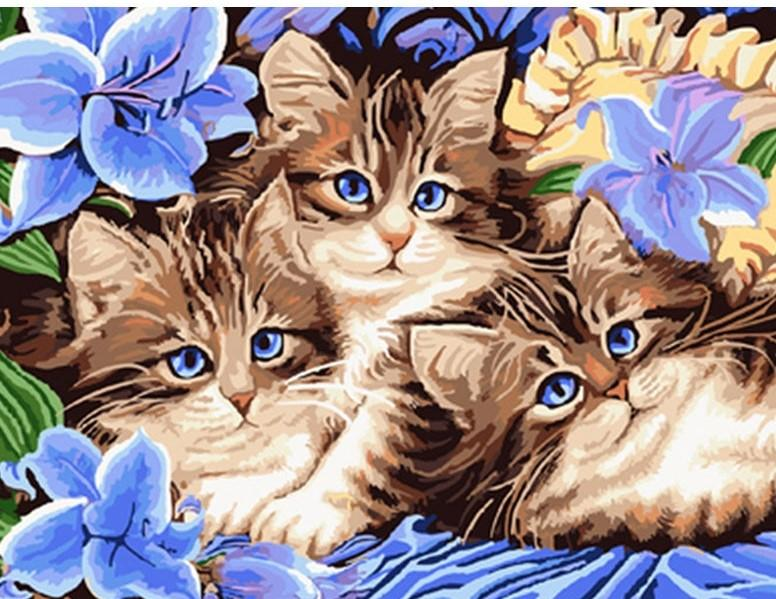 Cats With Flowers Painting By Numbers kit