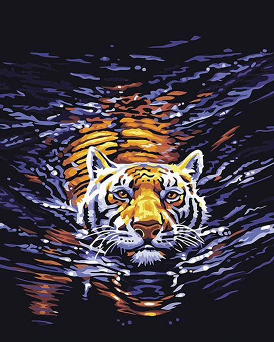 Tiger In The Water Paint By Numbers Kit