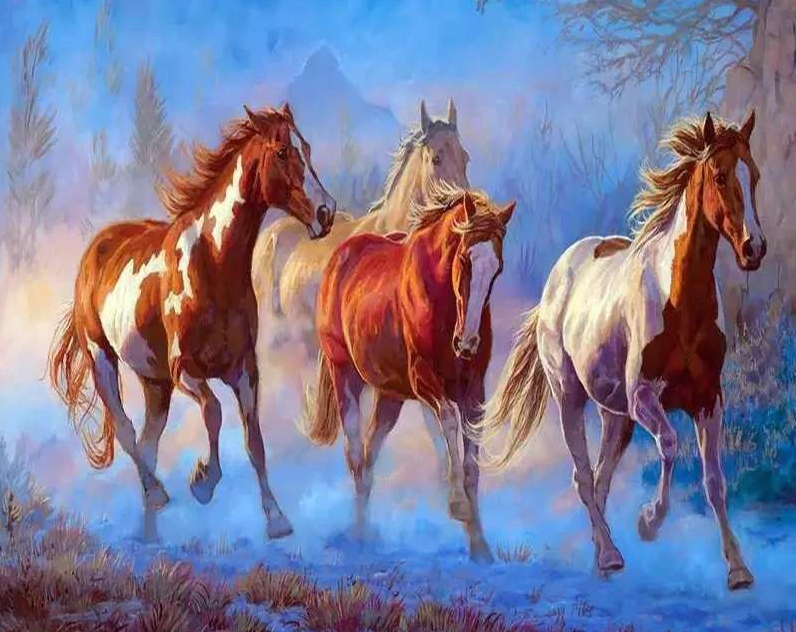 White And Brown Horses Painting Kit
