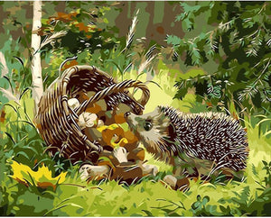 Hedgehog Eating painting