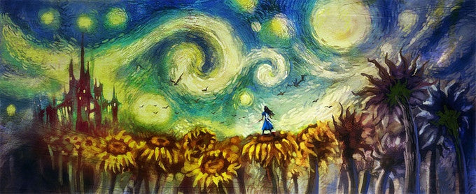 Alice with Sunflowers (Art Print) - 奥 Mysterious