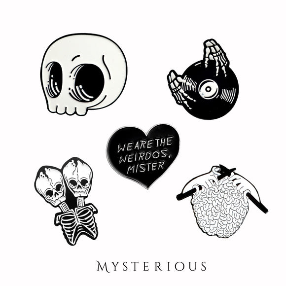 Black and White Skelly Pin Set - Mysterious