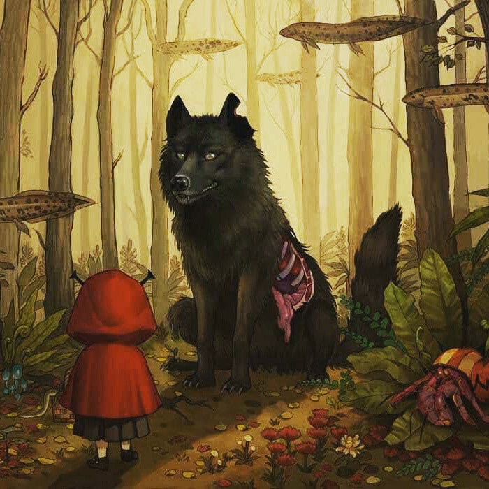 Red Riding Hood meets the Big Bad Wolf (Art Print) - 奥 Mysterious