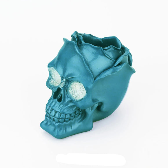 Blue Rose Skull Pen Holder
