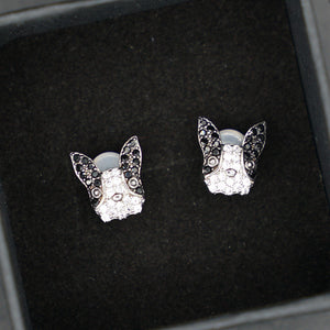 """Mysterious Lulu"" Silver Boston Terrier Earrings - Mysterious"