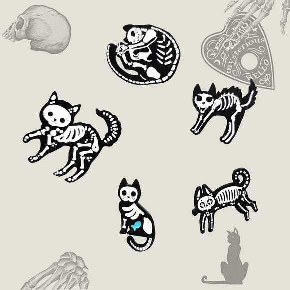 Kitty Skeleton Pins