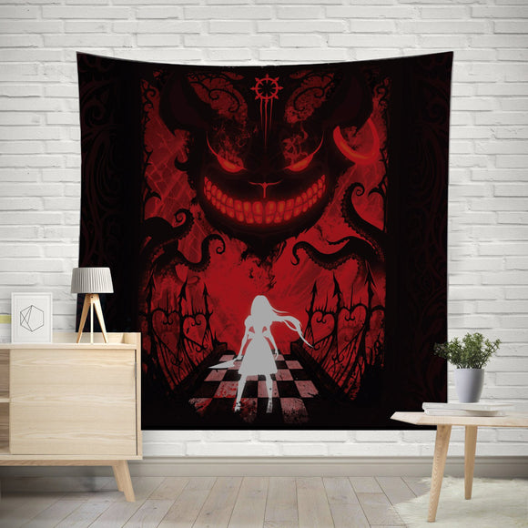 Red Cheshire Tapestry - Mysterious