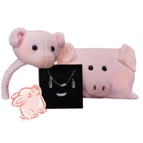 Lucky Pig Jewelry and Pig Plush Set