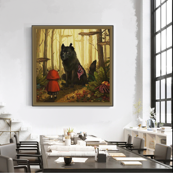 Red Riding Hood meets the Big Bad Wolf (Art Print)