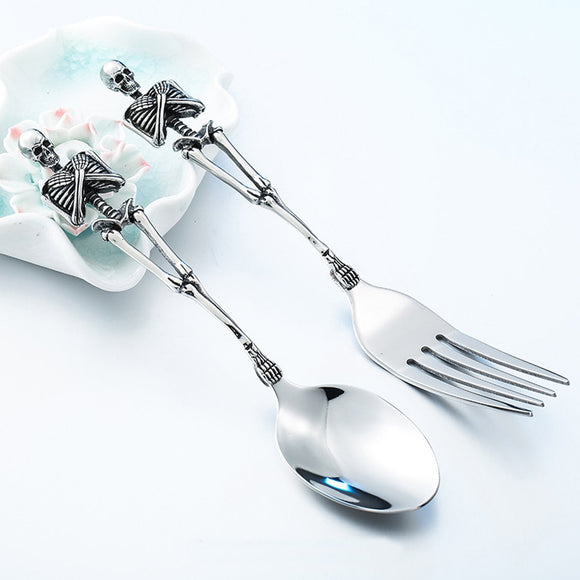 Skeleton Spoon and Fork Set - Mysterious