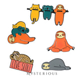 Sloth Plushies and Pins Set - Mysterious