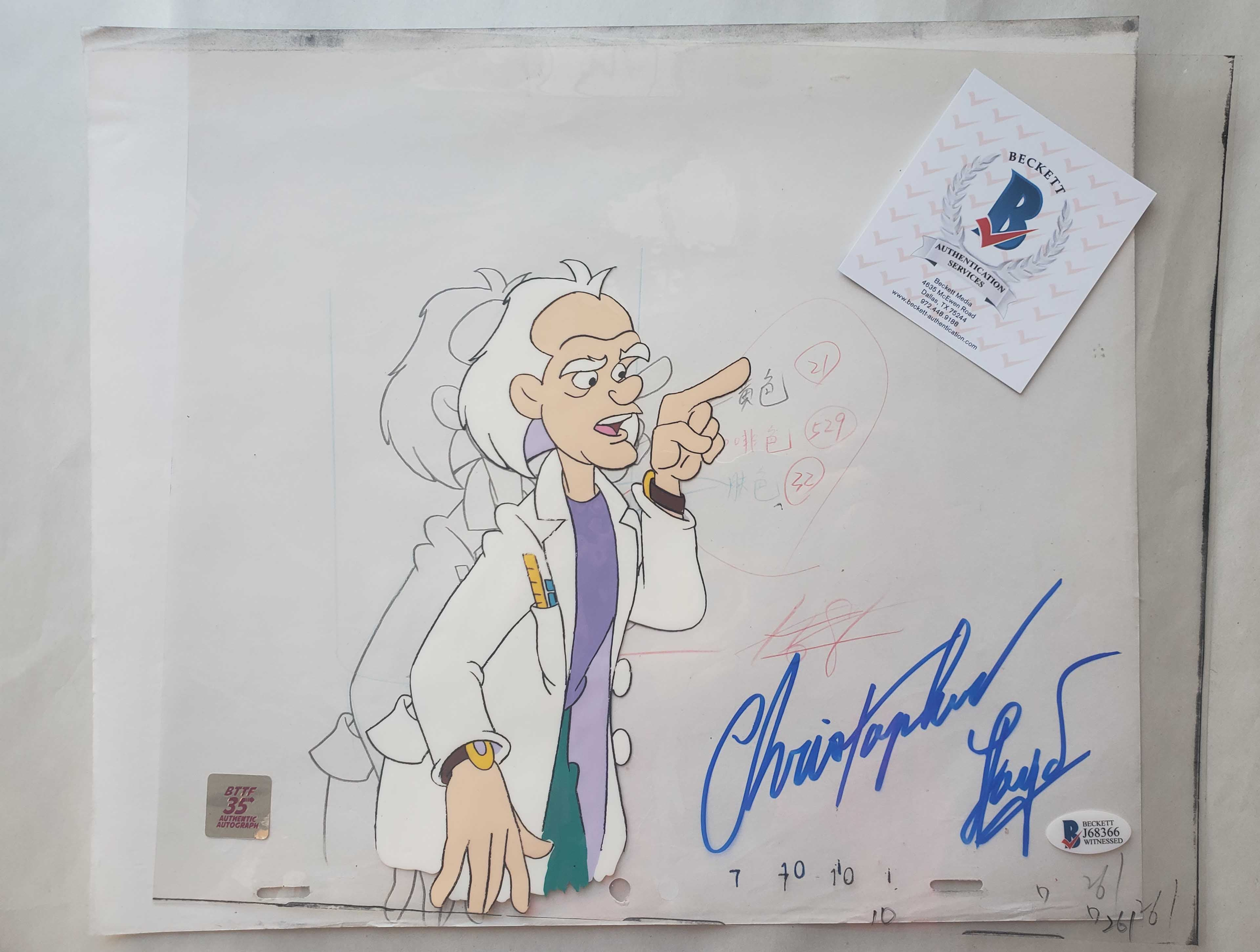 Doc Cel Signed by Christopher Lloyd 25 (EX0494) - Animation Legends