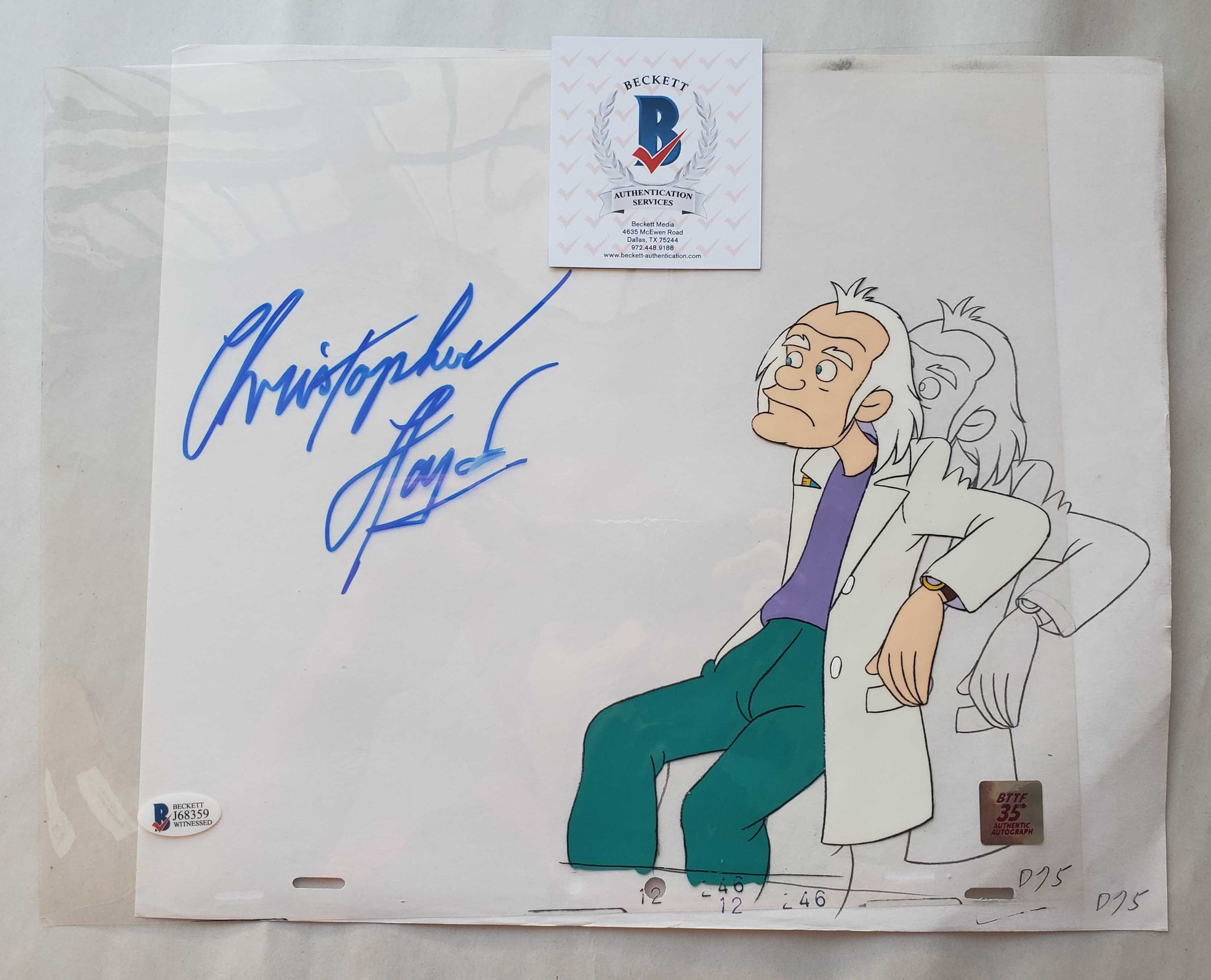 Doc Cel Signed by Christopher Lloyd 30 (EX0499) - Animation Legends