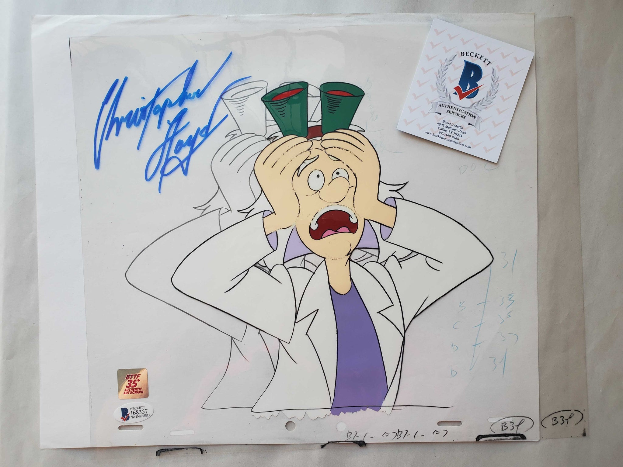 Doc Cel Signed by Christopher Lloyd 32 (EX0501) - Animation Legends