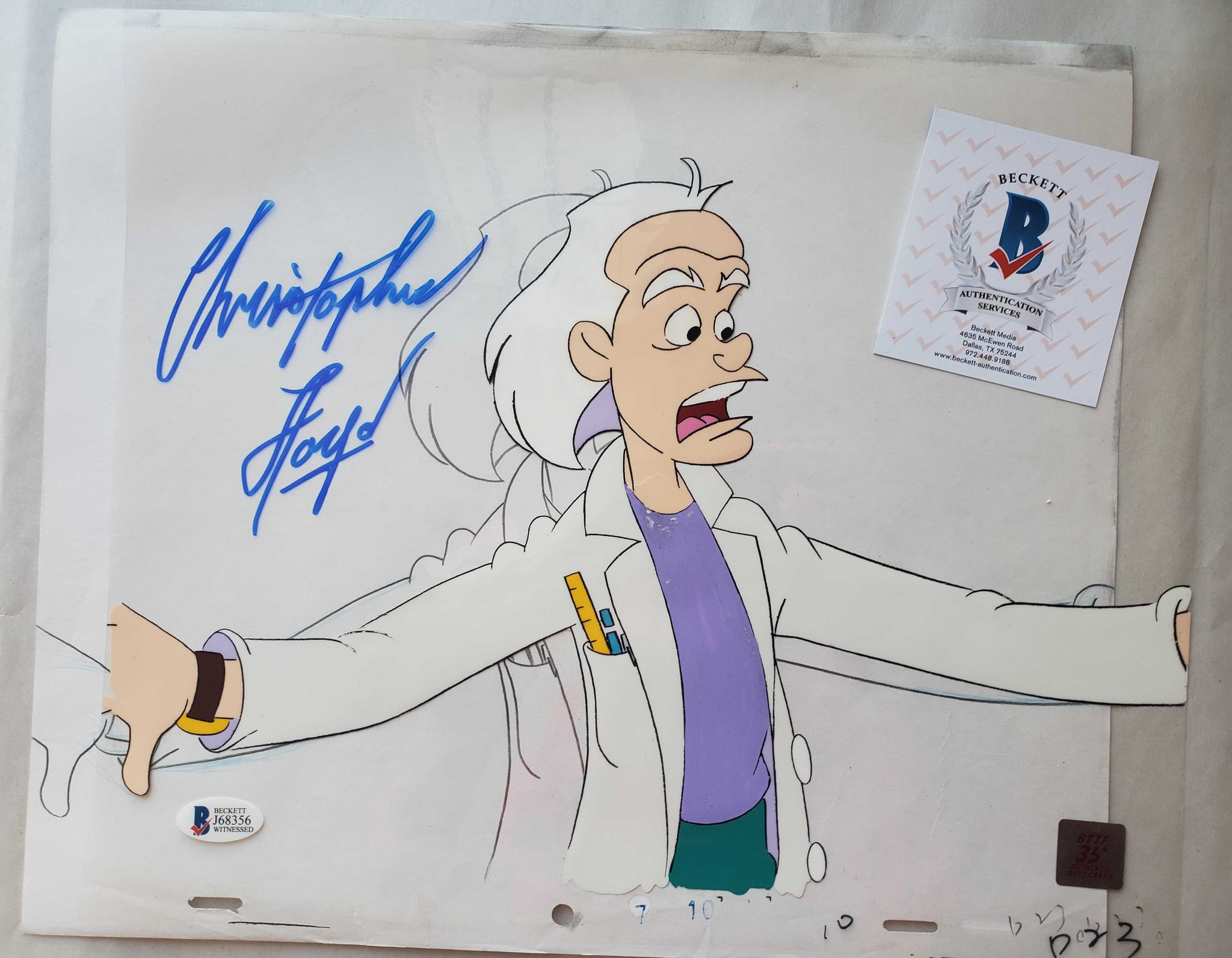 Doc Cel Signed by Christopher Lloyd 33 (EX0502) - Animation Legends