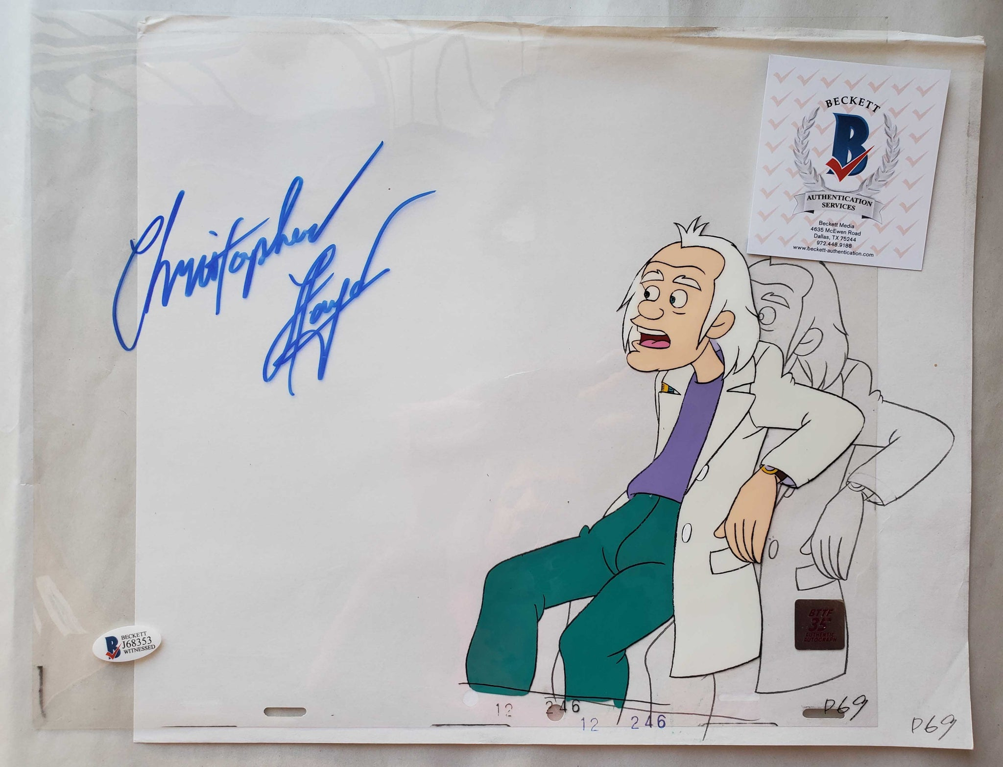 Doc Cel Signed by Christopher Lloyd 36 (EX0505) - Animation Legends