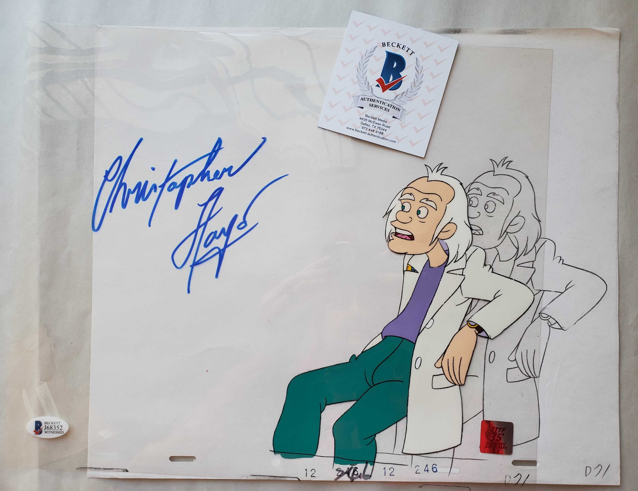 Doc Cel Signed by Christopher Lloyd 38 (EX0507) - Animation Legends