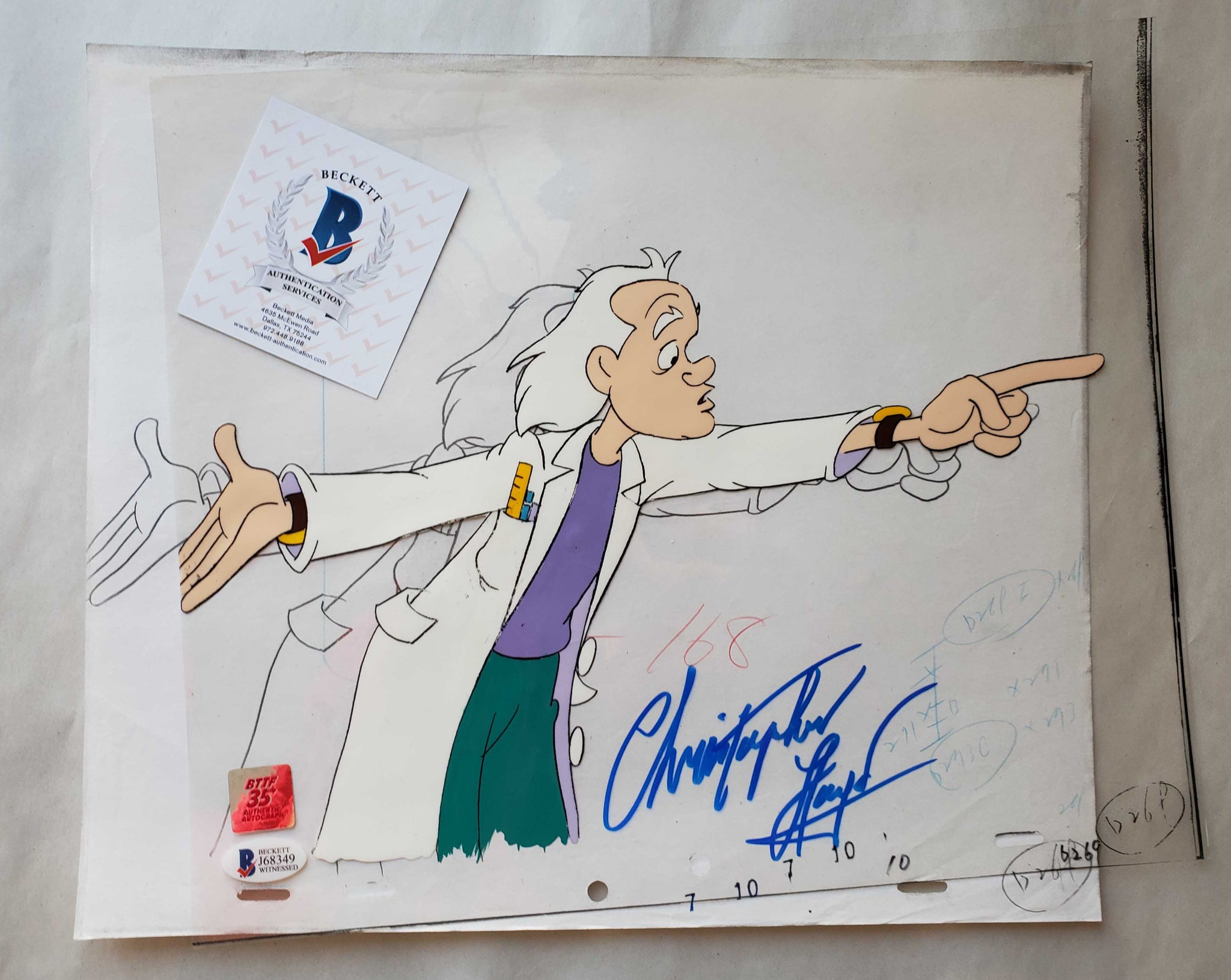 Doc Cel Signed by Christopher Lloyd 39 (EX0510) - Animation Legends