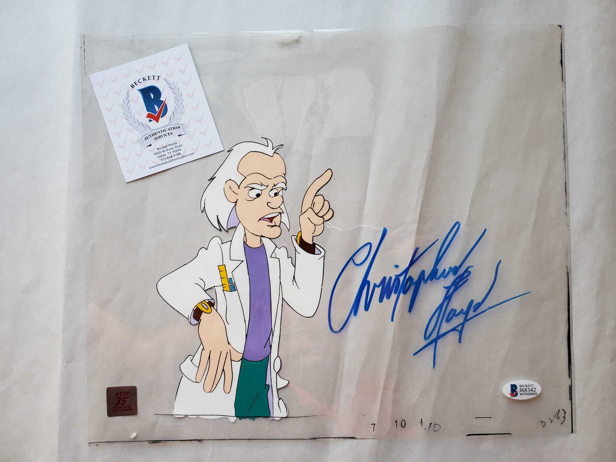 Doc Cel Signed by Christopher Lloyd 45 (EX0516) - Animation Legends