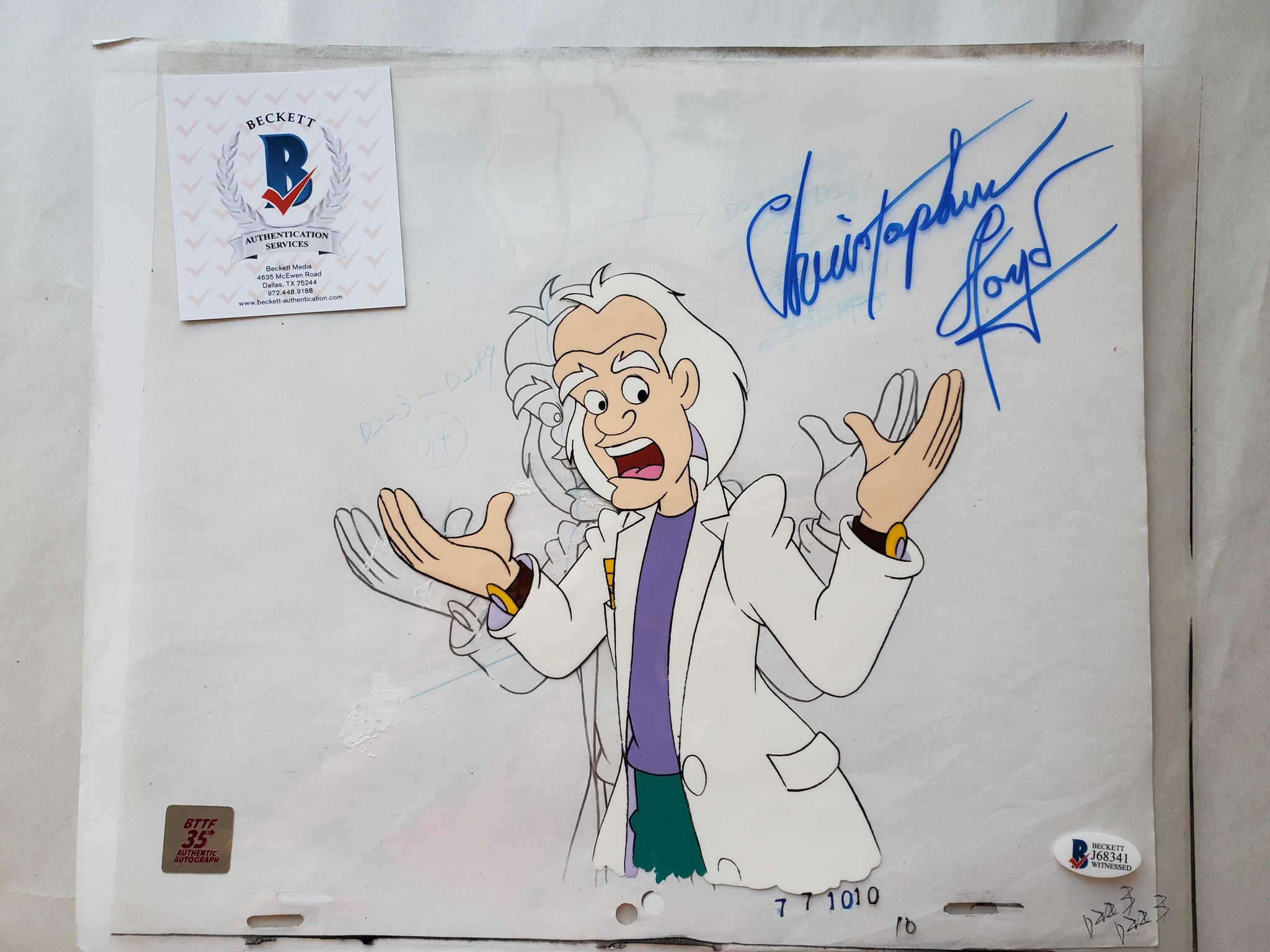 Doc Cel Signed by Christopher Lloyd 46 (EX0517) - Animation Legends