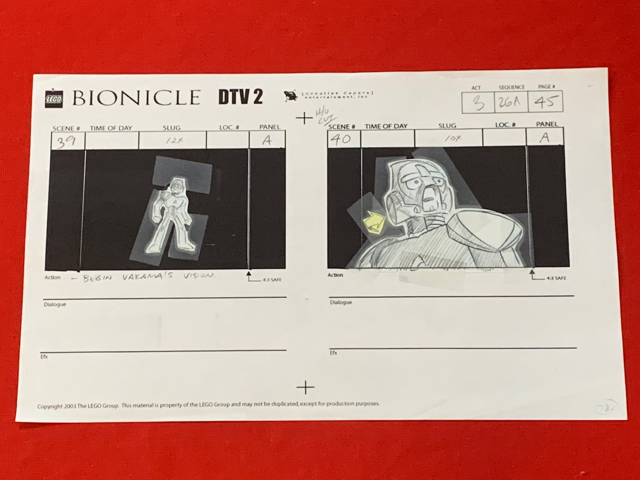 Lego Bionicle storyboard 1 EX0826 - Animation Legends