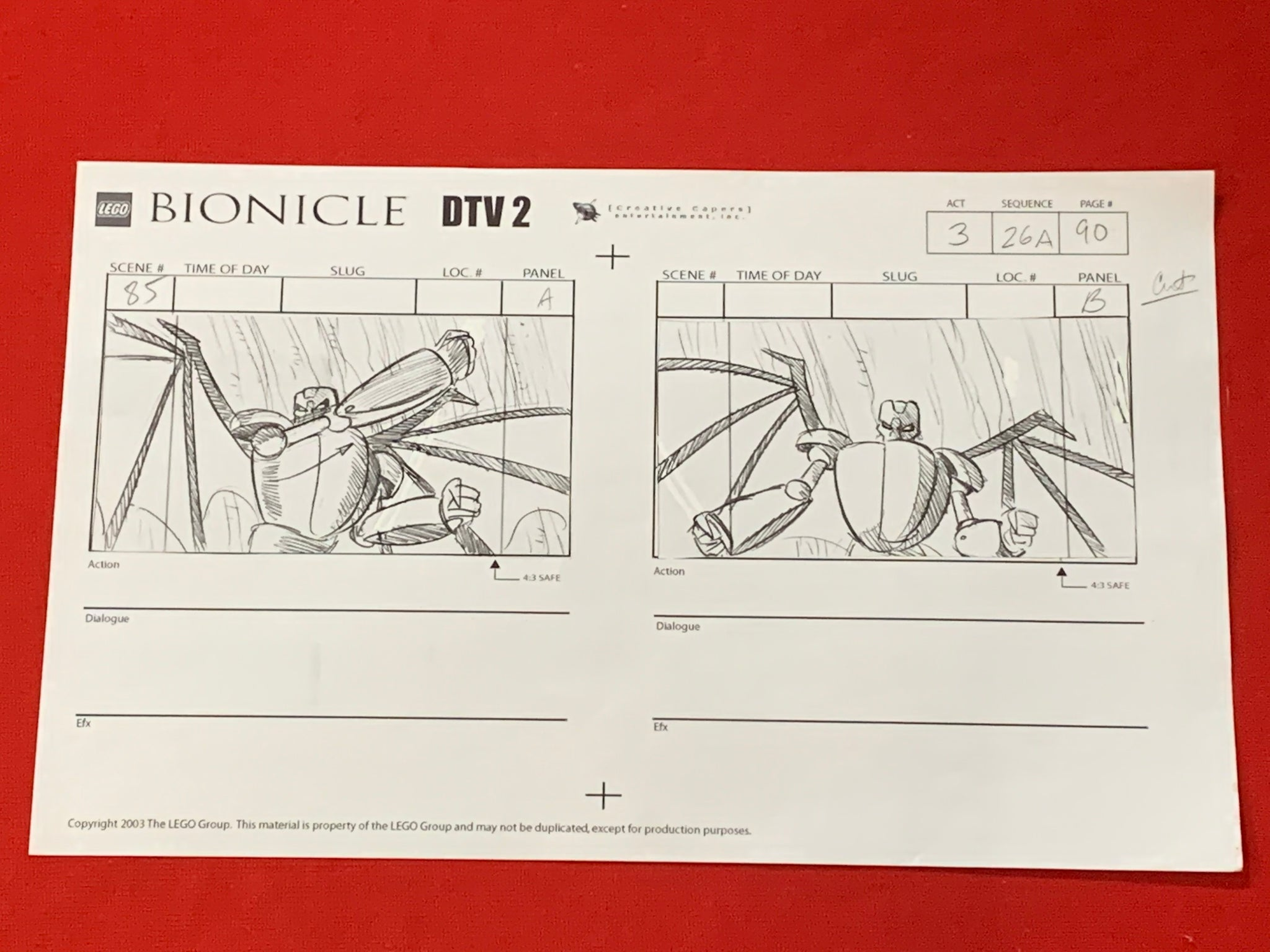 Lego Bionicle storyboard 3 EX0828 - Animation Legends